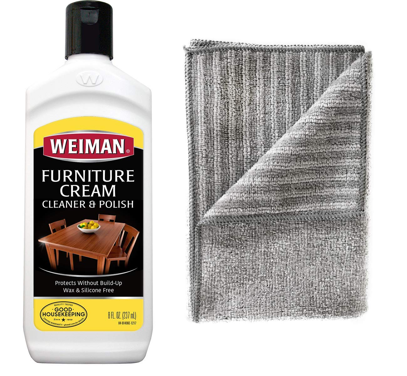 Weiman Wood Polish and Cleaner [8 Ounce with Microfiber Cloth] Furniture Cream with Lemon Oil Restore Luster and Prevent Sun Damage Without Dulling Buildup