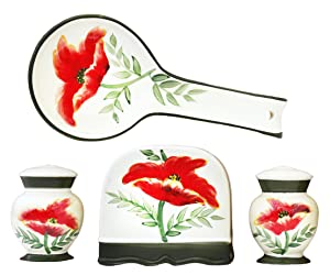 Tuscany Floral Poppy Hand Painted Kitchen 4pc Stove Top Set, 84725/28 by ACK