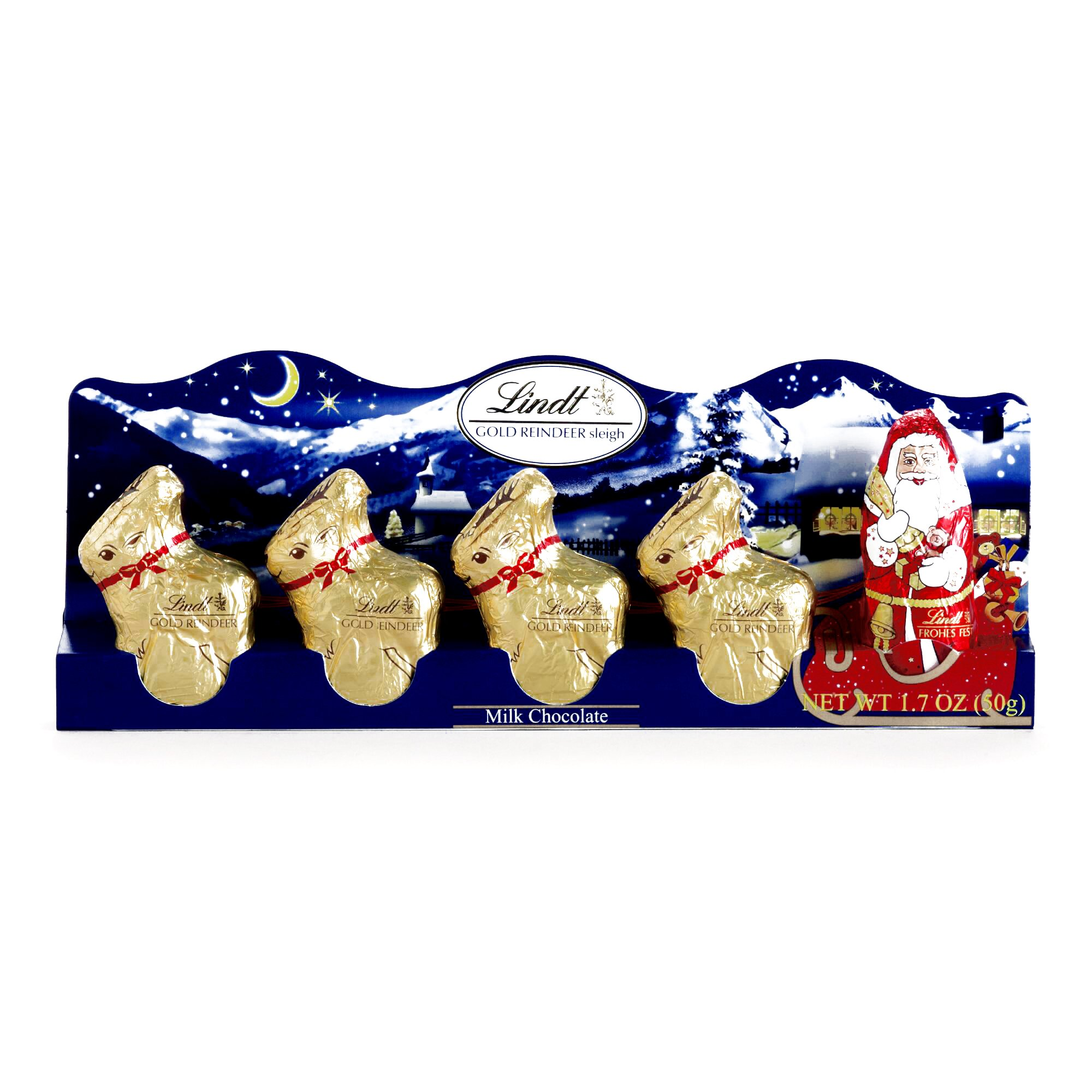 Lindt Mini Santa and Reindeer (1 Unit Per Order) - Gourmet Christmas Gift for the Holidays