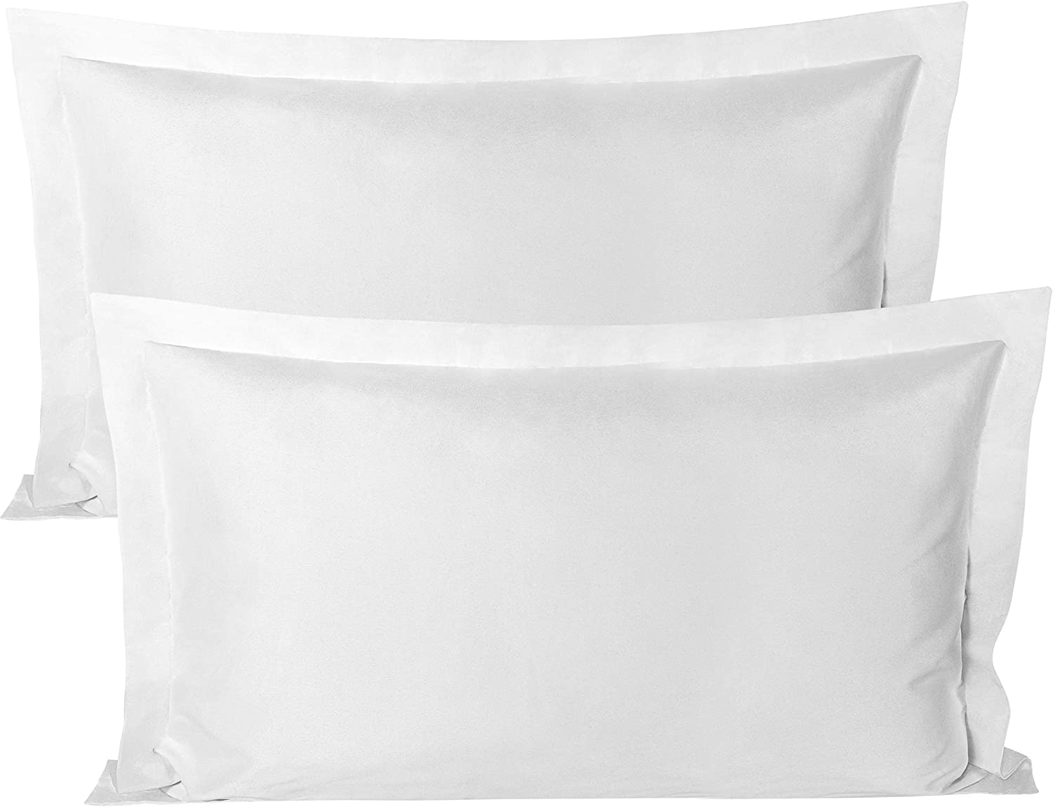 BEDSUM Microfiber Pillow Shams Set of 2, Ultra Soft and Wrinkle Resistant, King, White