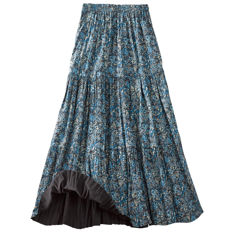 CATALOG CLASSICS Women's Reversible Broomstick Skirt - Blue Lagoon Paisley Print Reverse to Black - 1X