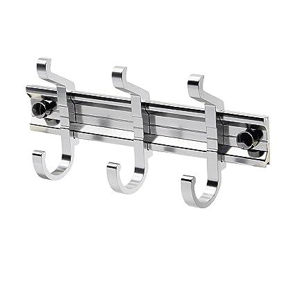 CERRXIAN - Perchero de pared con 3 ganchos de aluminio, diseño moderno de alta gama, montaje en pared, muy fácil de instalar, resistente al óxido y al ...