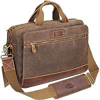 "Manificent Men's 15.6"" Canvas and Leather Laptop Messenger Bag"
