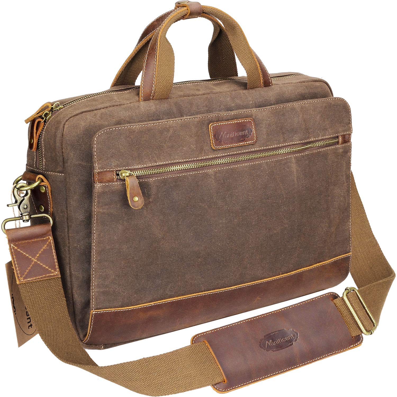 Manificent Men's Leather Briefcases Messenger Bag, 15.6 Inch Vintage Waxed Canvas Laptop Bag Attache Case,Waterproof Shoulder Bag, Brown