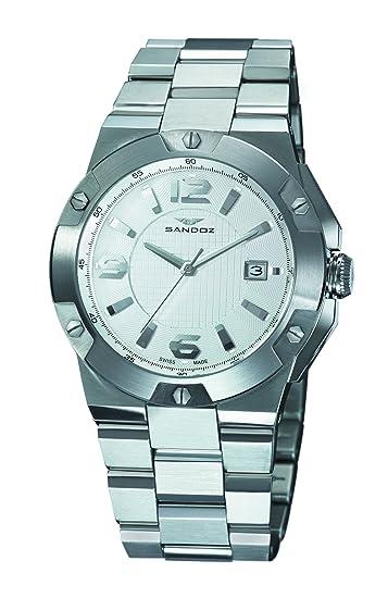 Sandoz 81281-00 - Reloj de caballero de cuarzo, correa de acero inoxidable color plata: Sandoz: Amazon.es: Relojes