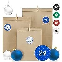 Relaxdays Adventskalender, 24 Tüten in 3 Größen, Zahlensticker, Holzklammern, DIY Weihnachtskalender, versch. Designs