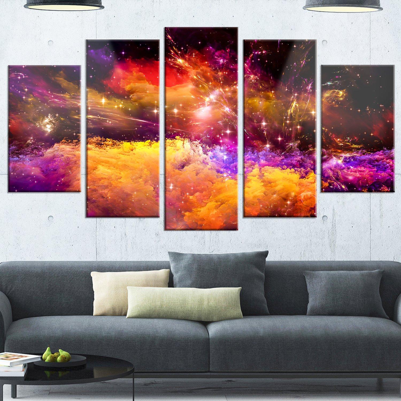 Designart Universe Fractal Burst Large Abstract Glossy Metal Wall Art 60x32 Yellow//Purple