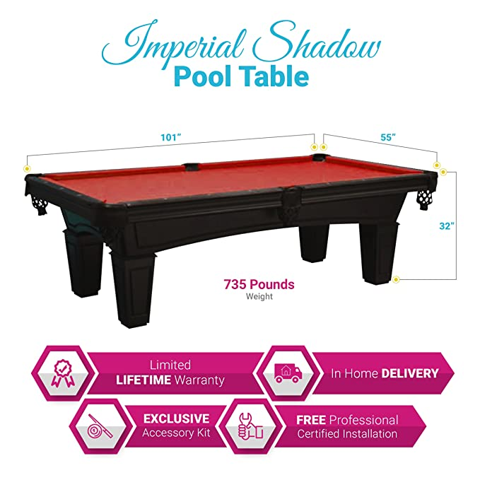 Amazoncom Imperial Shadow Black Foot Pool Table Red Cloth - Imperial shadow pool table
