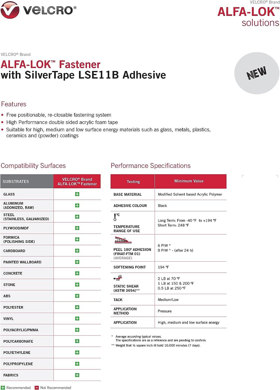 91cm with SilverTape GP11W General Purpose Mated Black 2.54cm Width VELCRO/® Brand ALFA-LOK/™ Reclosable Fastener