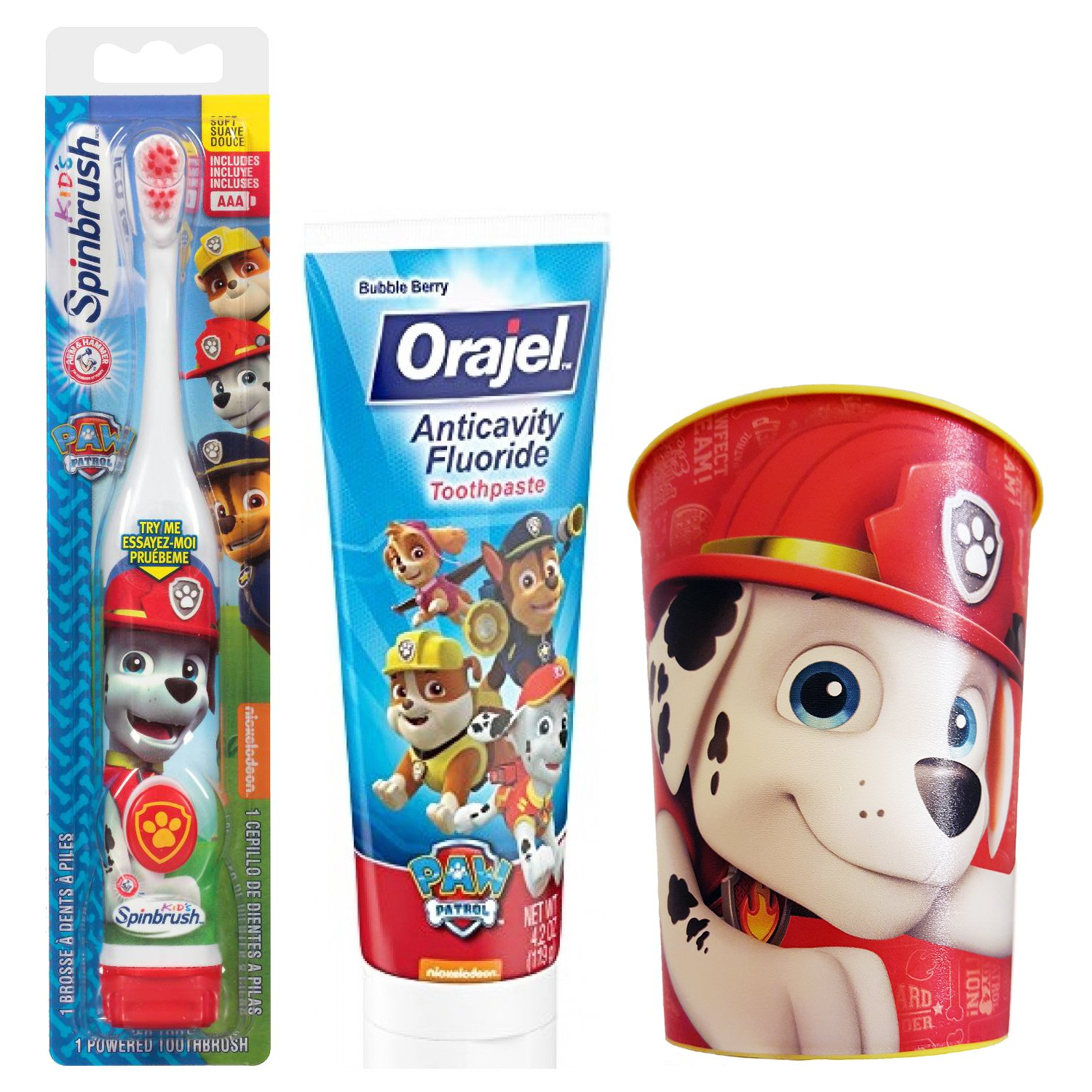Paw Patrol Marshall Toothbrush & Toothpaste Bundle: 3 Items - Spinbrush Toothbrush, Orajel Bubble Berry Toothpaste, Kids Character Rinse Cup by Kids Marshall Dental Kit (Image #1)