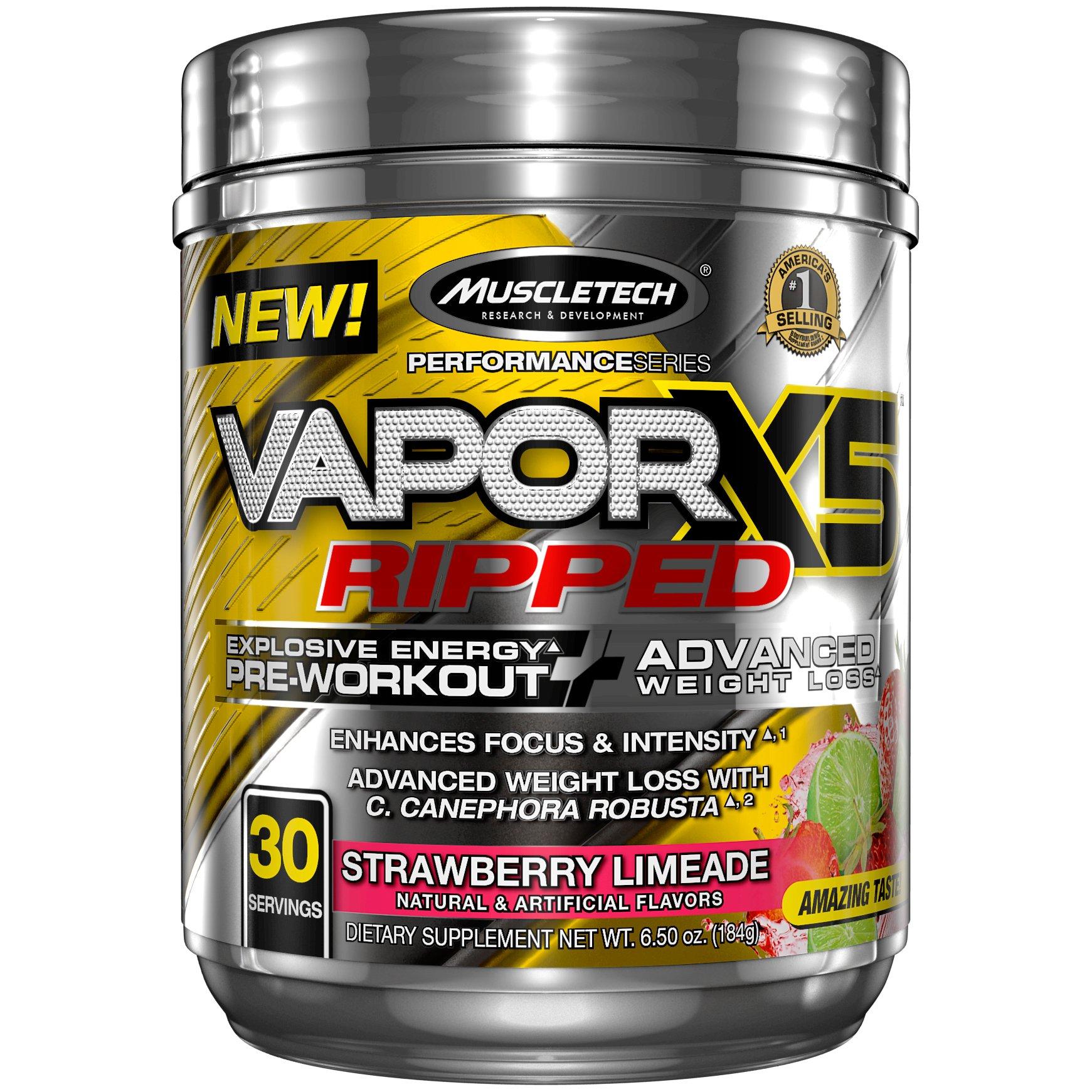 MuscleTech Vapor X5 Next Gen Pre Workout Powder & Weight Loss Supplement, Explosive Energy & Advanced Weight Loss, Strawberry Limeade, 30 Servings,6.50 Ounce,Pack of 1 by MuscleTech