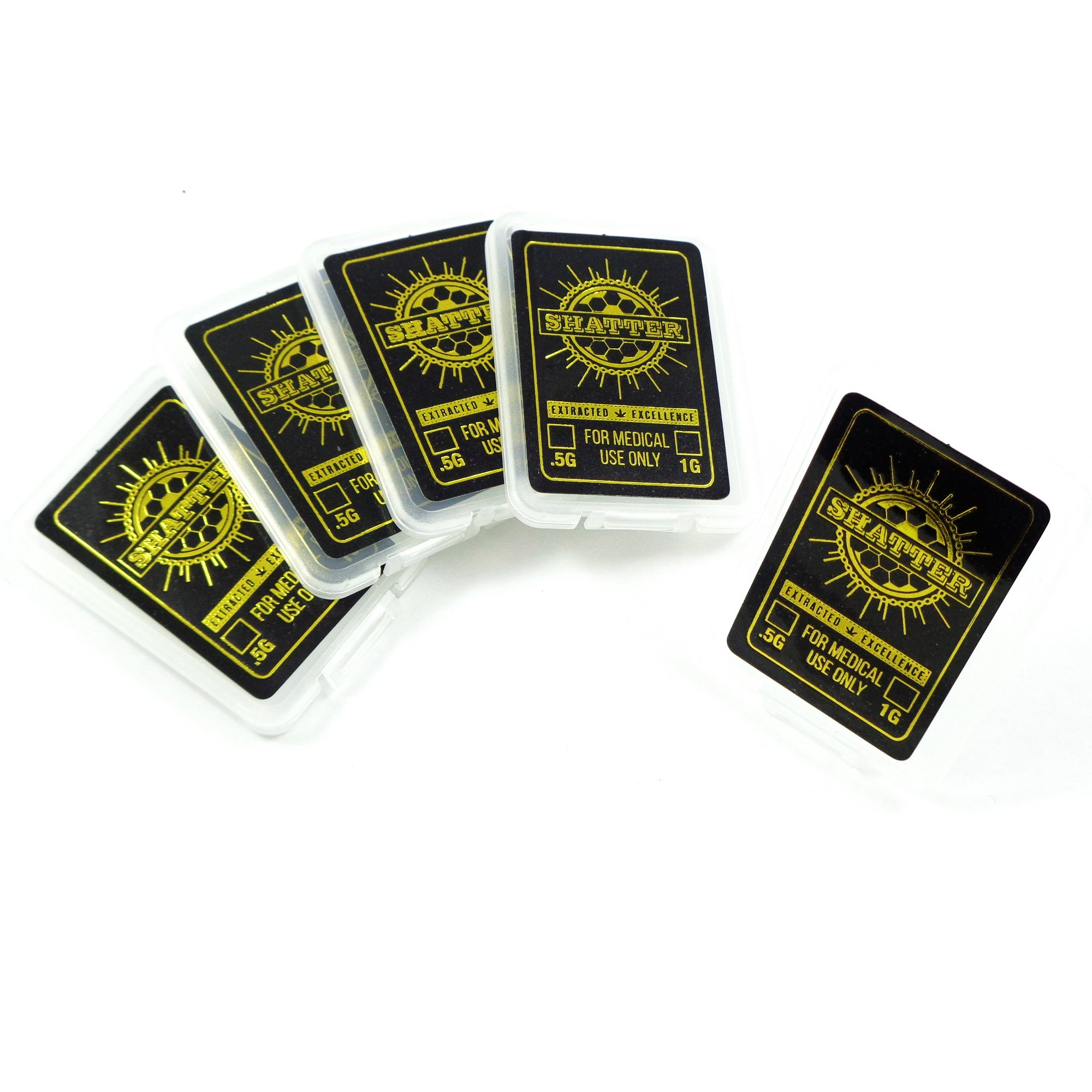 25 Black Gold Foil Shatter Packs Wax Oil SD Card MMJ Packaging by Shatter Labels SP-003