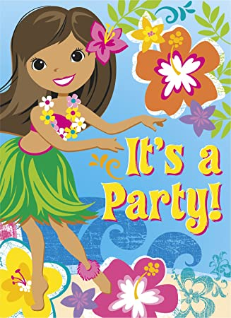 unique party 48257 hawaiian beach party invitations pack of 8