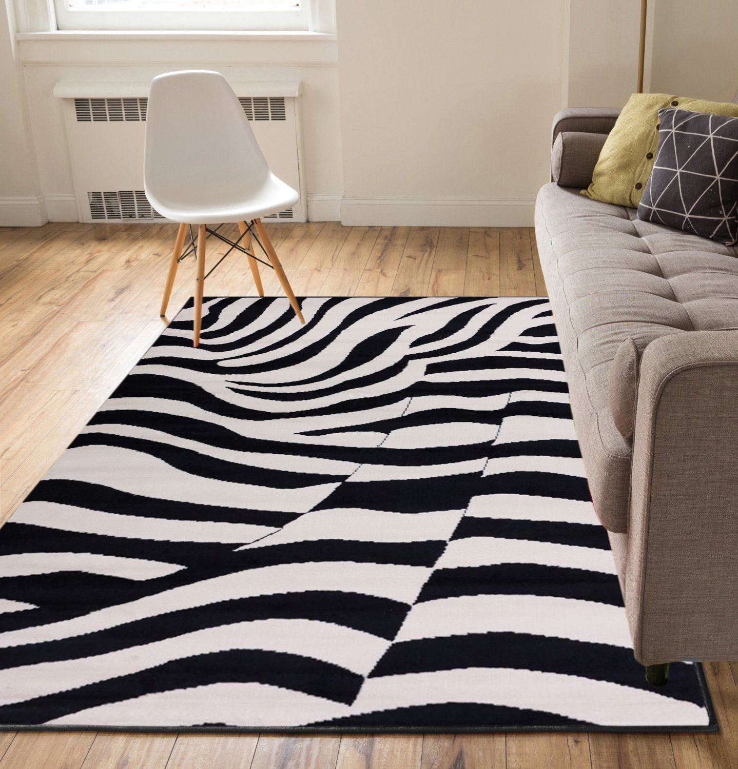 Well Woven Zebra Black 5' x 7' Area Rug Carpet by Well Woven