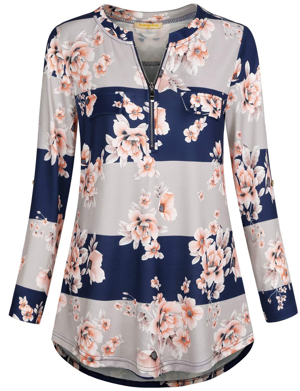 MIXJOY Baikea Womens 3//4 Rolled Sleeve Zipped V Neck Plaid Shirt Casual Tunic Blouses