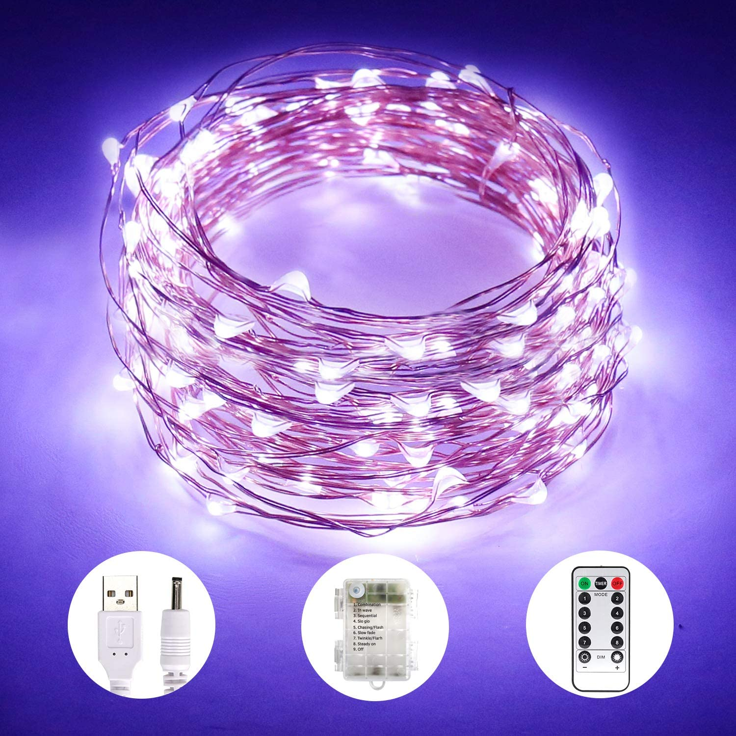 Aluan Fairy Lights 100 LED 33 FT Copper Wire Christmas Lights USB & Battery Powered Waterproof LED String Lights with 8 Modes for Indoor Outdoor Bedroom Wedding Party Patio Decor, Cool White