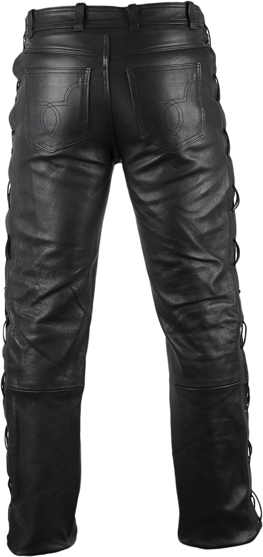 MDM Lederjeans Lederhose Bikerjeans Rockerjeans Motorradhose seitlich gesch/ürt schwarz