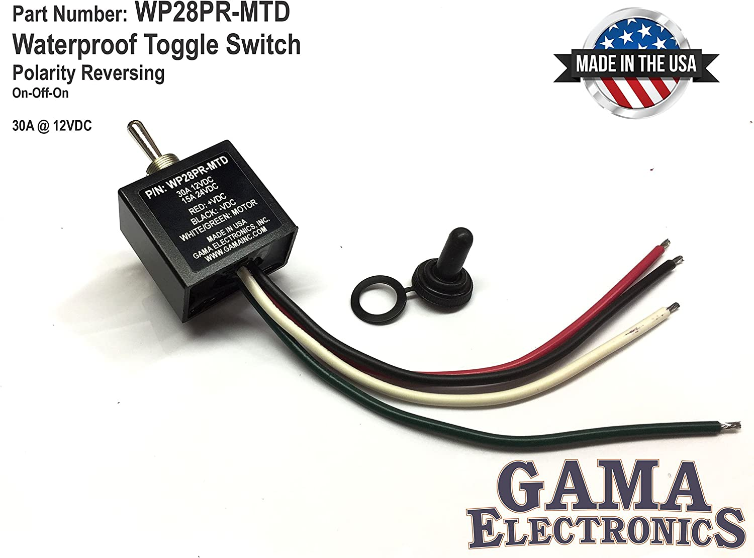 Maintained GAMA Electronics 30 Amp Toggle Switch 3 Position Reverse Polarity DC Motor Control