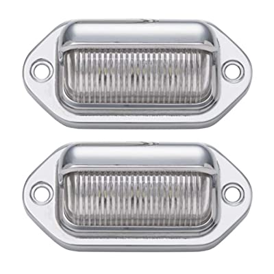 2pc LED License Plate Light [SAE/DOT Certified] [Waterproof] [Heavy Duty] Convenience LED Courtesy Light for Trailers, RV, Trucks & Boats License Tags - Chrome Housing, 6 LED's in each light!: Automotive
