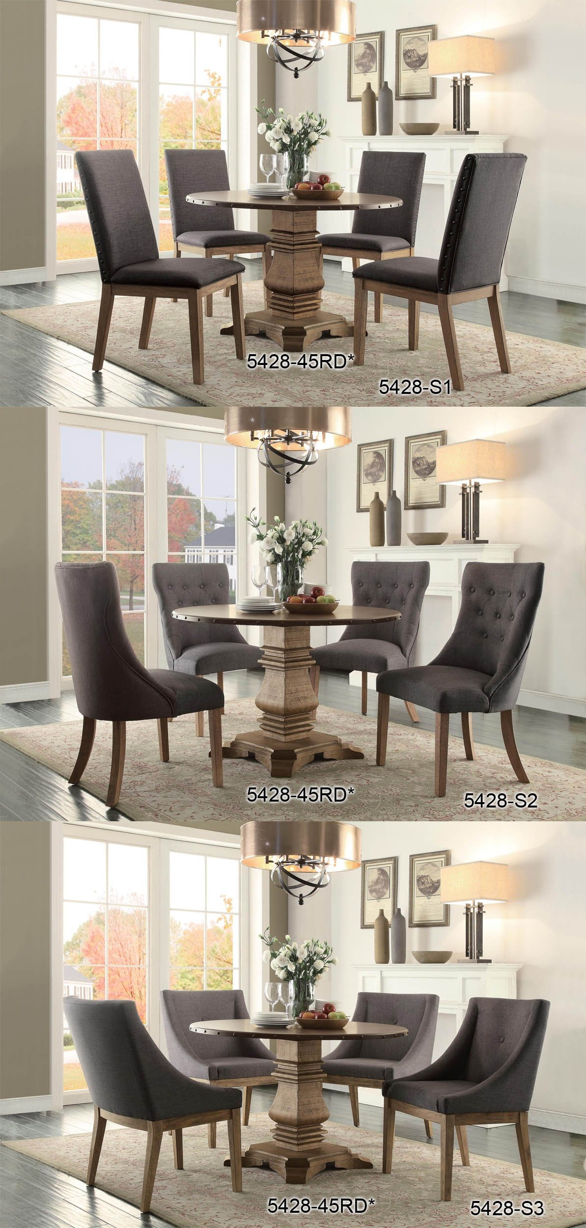 Homelegance Anna Claire 7-Piece Dining Set 84-inch Zinc Top Dining Table and 6 Button Tufted Wingback Chairs by Homelegance (Image #4)
