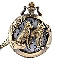 Cristoferv Cool Style Hollow Wolf Moon Bronze Antique Style Quartz Pocket Watch Necklace*1