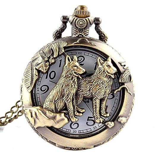 Reloj de bolsillo de cuarzo, diseño de lobo y luna, bronce, estilo antiguo: Amazon.es: Relojes