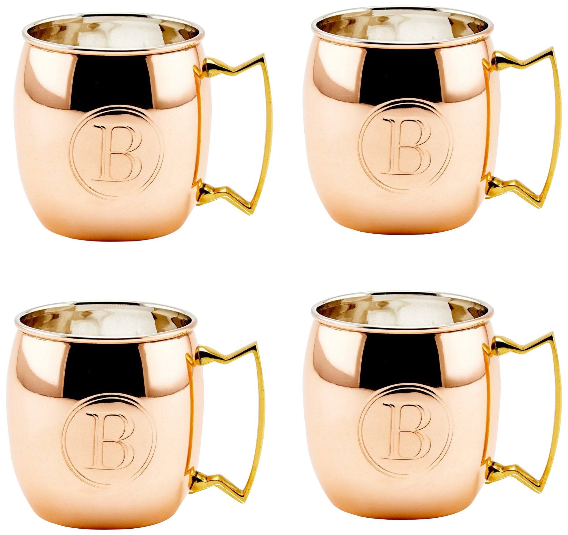 Old Dutch Solid Moscow Mule Mug, 16-Ounce, Monogrammed B, Copper, Set of 4