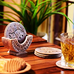 Hashcart Natural Soapstone Coasters Set for Home Decor - Coaster with Holder (Set of 6)