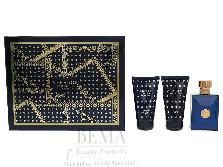 VERSACE pour homme Dylan blu Eau de Toilette spray, set regalo, gel doccia e balsamo dopobarba 150ml 8011003837373