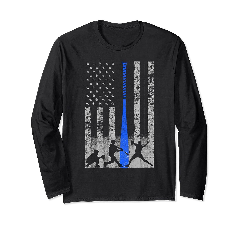 American Baseball Flag Long Sleeve - Players and Blue Bat-mt