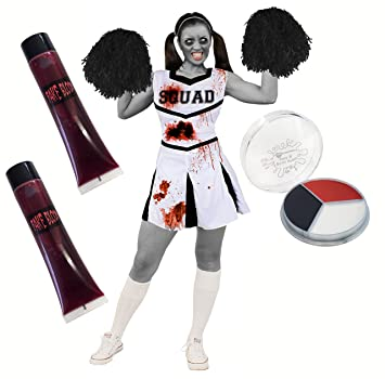 8f246a971a8a BLOODY CHEERLEADER COSTUME + POM POMS + FAKE BLOOD + FACE PAINT IN WHITE  PERFECT FOR HALLOWEEN HIGH SCHOOL LADIES FANCY DRESS COSTUME WOMENS CHEER  CAPTAIN ...