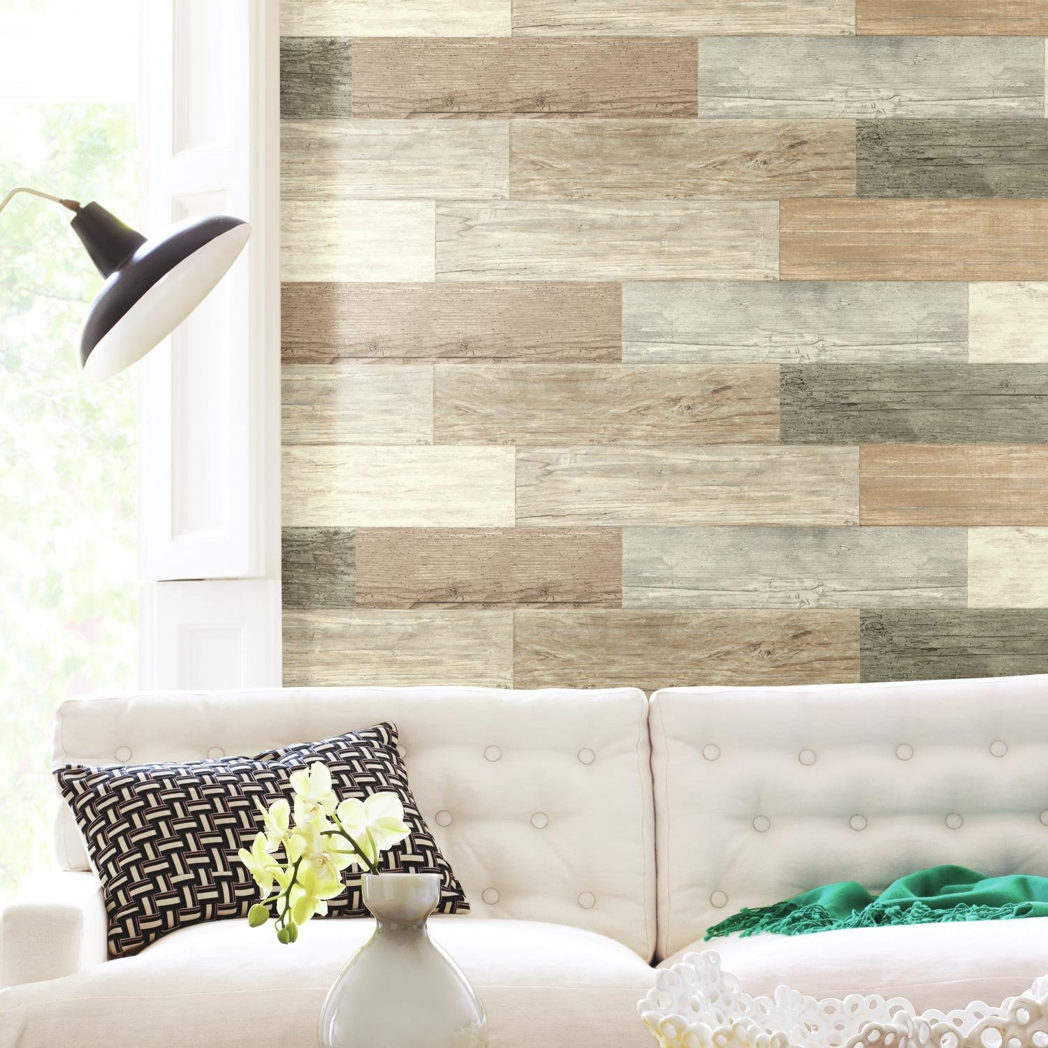 RoomMates RMK3695GM Distressed Barn Wood Plank Peel and Stick Giant Wall Decals, 17.25 X 36.5, Multi-Colored
