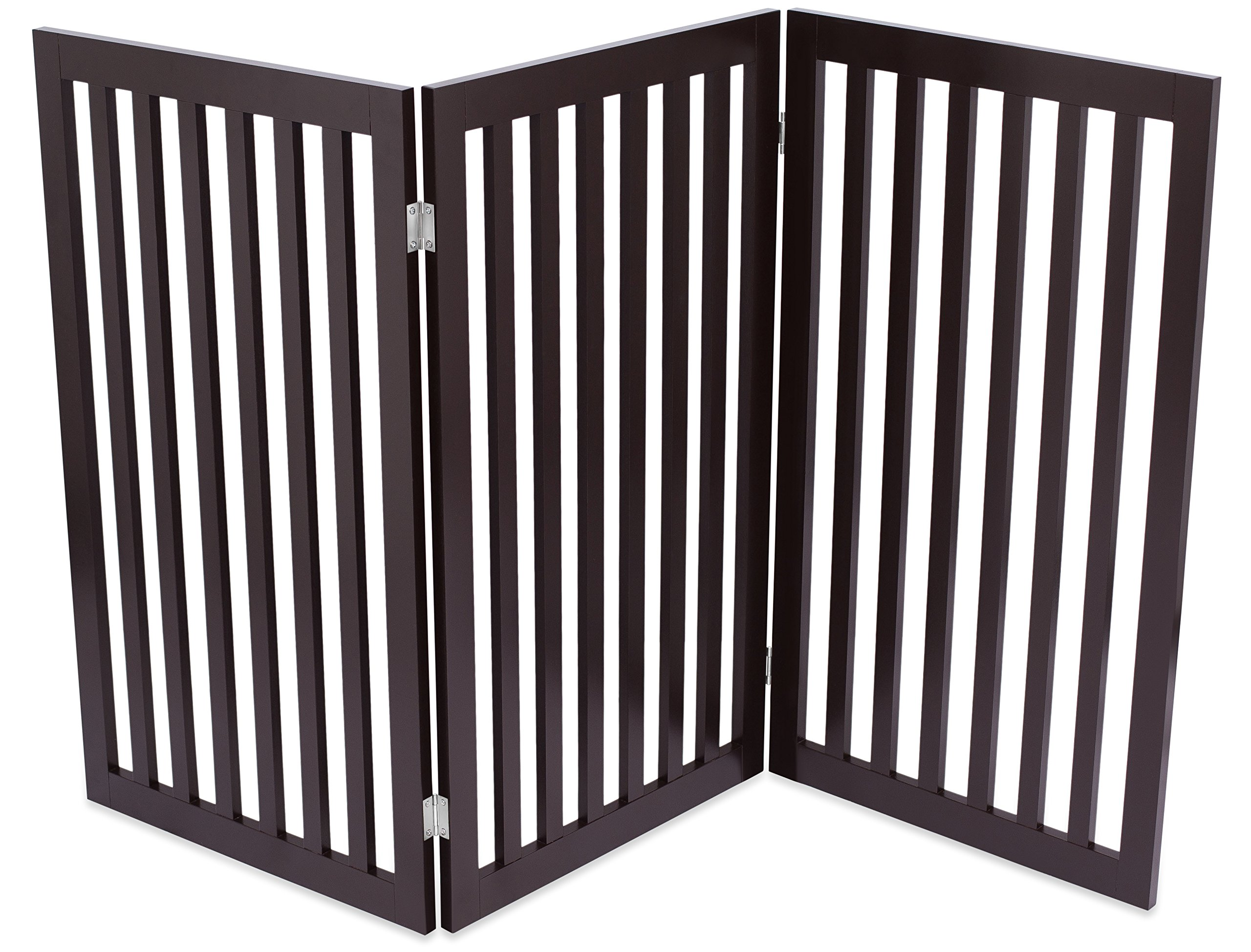 Internet's Best Traditional Pet Gate | 3 Panel | 36 Inch Tall Fence | Free Standing Folding Z Shape Indoor Doorway Hall Stairs Dog Puppy Gate | Espresso | Wooden