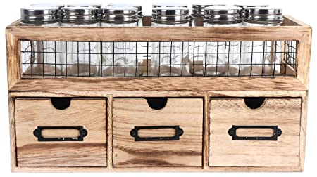 Premium Kitchen Heart Of The Home Freestanding 12 Jar 3 Drawer Spice Rack  Holder Unit Cabinet