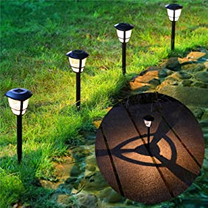 MAGGIFT 12 Pack Solar Powered Landscape Lights Outdoor Pathway Lights, Waterproof Solar Garden Lights for Lawn, Patio, Yard, Walkway, Deck, Driveway, Warm White