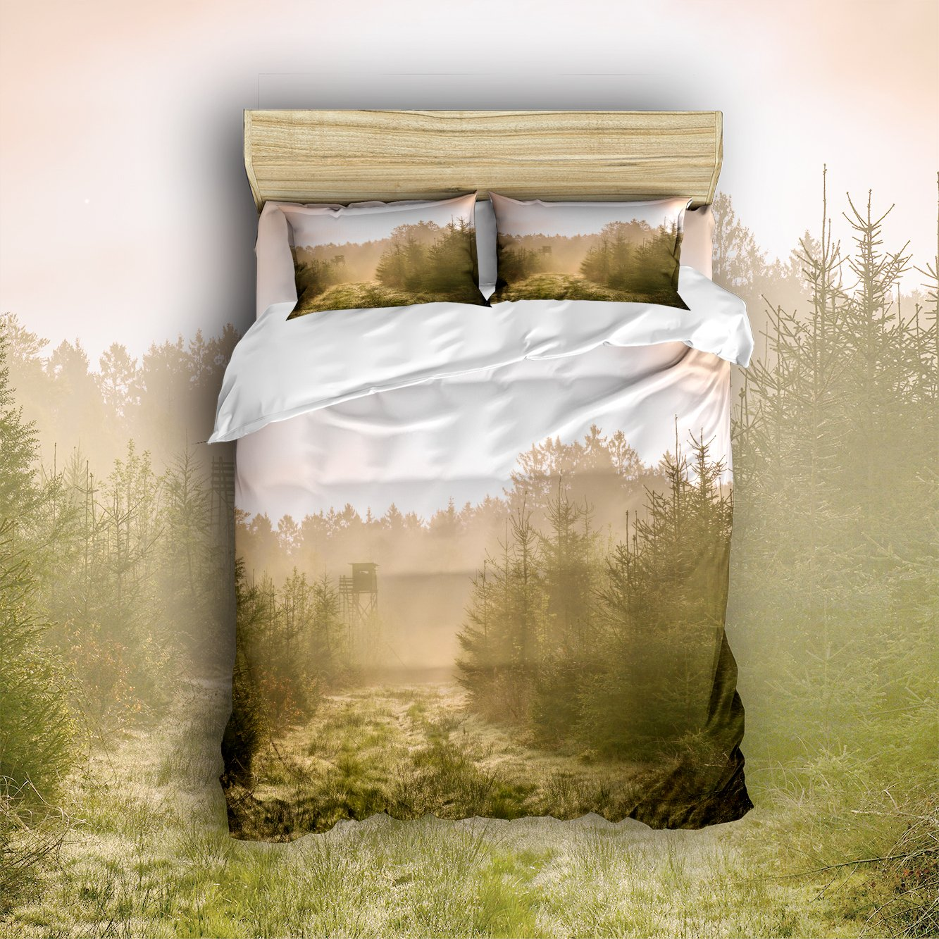 Family Decor Home Bedding Sets Country Road Shrubby Style Print Bedspread Sets For Lovely Teen Girls 4 Pcs Comforter Sets Duvet Cover, Flat Sheet, Shams Set 4Pieces