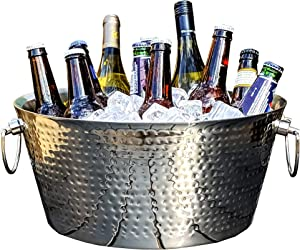 BREKX Double-Walled Insulated Hammered Stainless Steel Anchored Beverage Tub & Large Ice Bucket for Parties, Weddings, with Double Hinged Handles, 12 Quarts