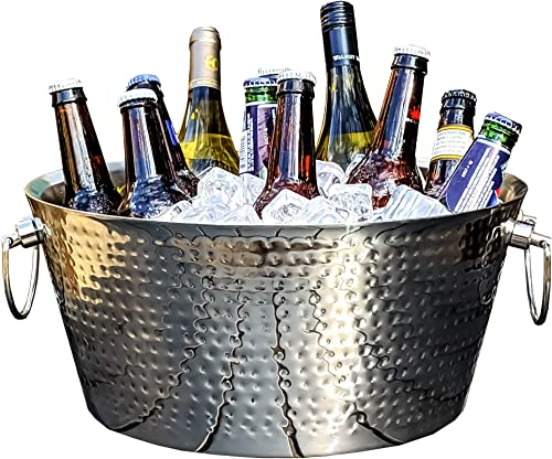 BREKX Double-Walled Insulated Hammered Stainless Steel Beverage Tub Large Ice Bucket for Parties, Weddings, Events, etc