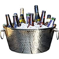 BREKX Double-Walled Insulated Hammered Stainless Steel Anchored Beverage Tub & Large Ice Bucket for Parties, Weddings…