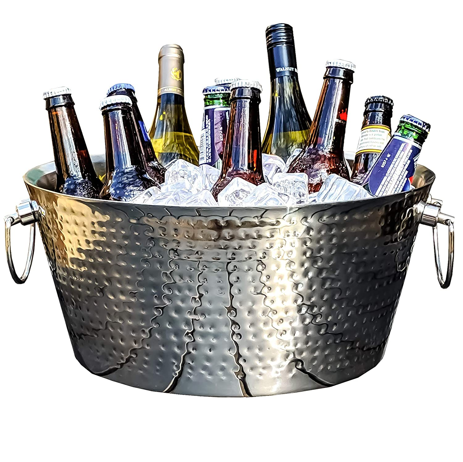 BREKX Insulated Hammered Stainless Steel Beverage Tub - Luxury Non-Sweat Wine & Beer Chiller