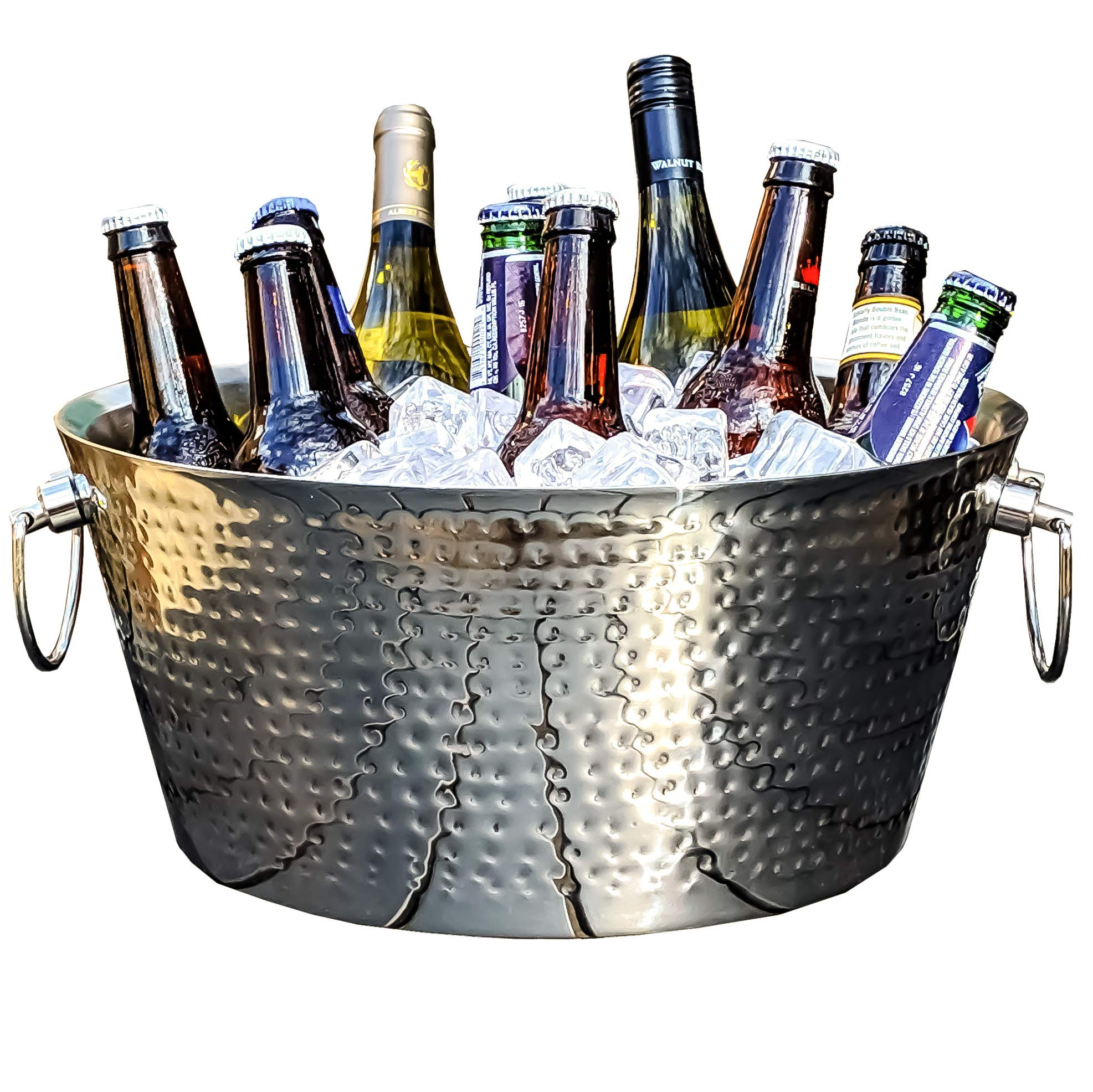 BREKX Anchored Double Walled Hammered Steel Beverage Tub Wine Chiller, Large, Silver by BREKX