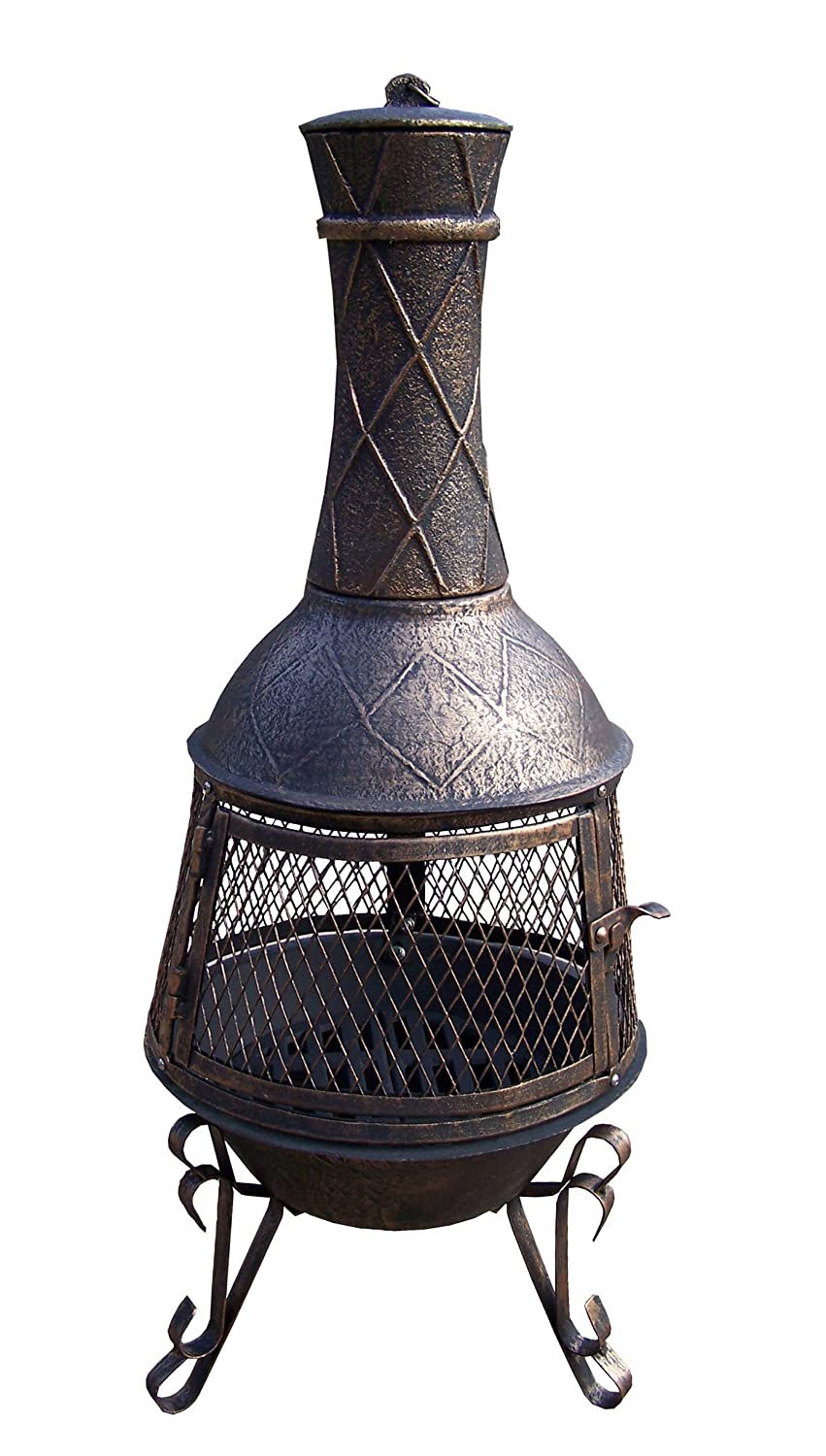 Oakland Living Avignon Chimenea with full sides Spark Guard Screen and Door, Antique Bronze 8021-AB M18720