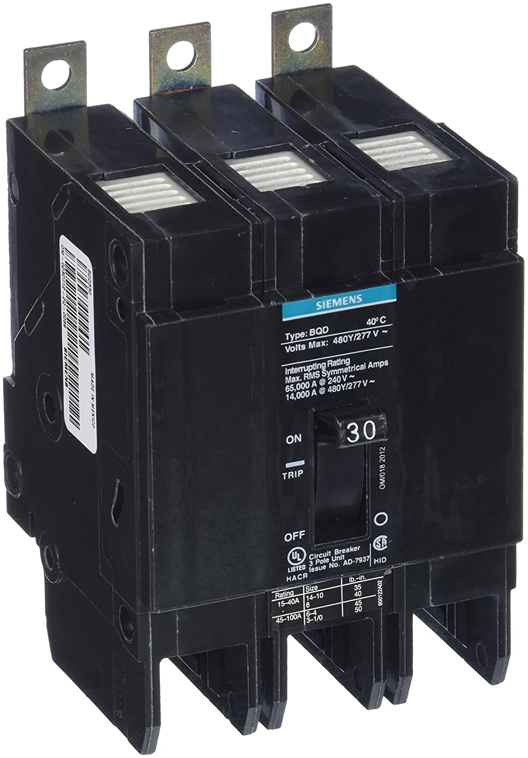 Siemens Bqd330 30 Amp Three Pole 480y 277v Ac 14kaic Bolt In Breaker Electrical Distribution Panels Circuit Fires Ground Fault Interrupters