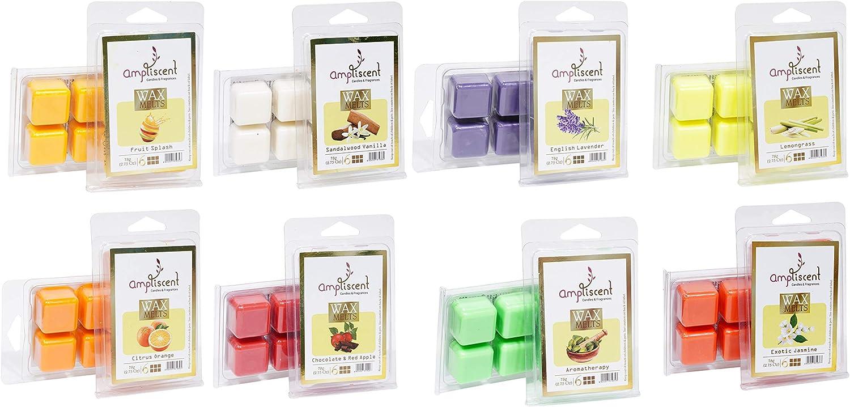 Ampliscent Scented Wax Melts -Set of 8 (2.5 oz) Assorted Wax Warmer Cubes/Tarts - Aromatherapy, Jasmine, Lemongrass, Lavender, Orange, Fruit Splash, Sandalwood Vanilla and Chocolate, Red Apple