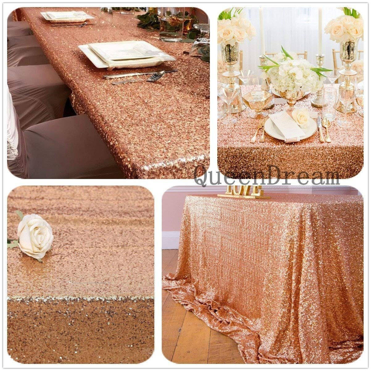 (130cm x 130cm, Rose Gold) - QueenDream sequins fabric 130cm x 130cm rose gold sequin Tableclothe sequin tablecloth square Sequin Linens sequin table cover For home out/dining   B0772QKNY6