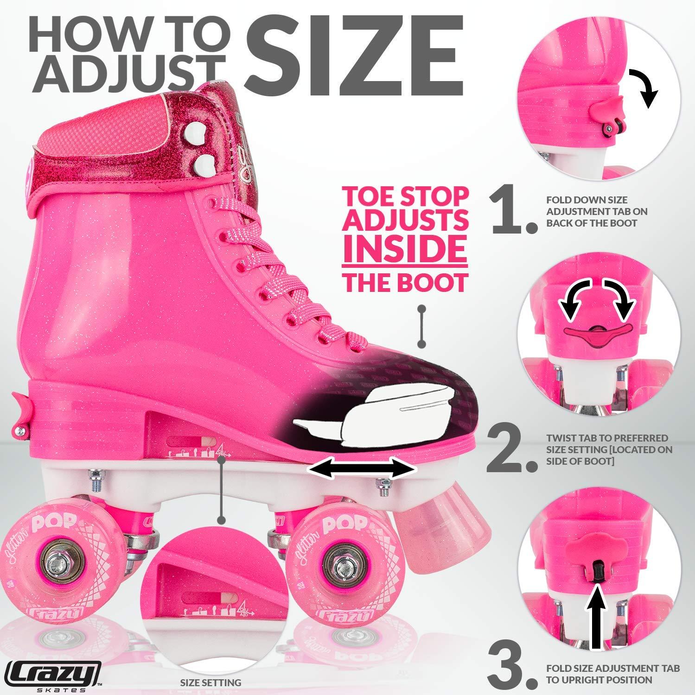 Crazy Skates Glitter POP Adjustable Roller Skates for Girls and Boys | Size Adjustable Quad Skates That Fit 4 Shoe Sizes | Pink (Sizes jr12-2) by Crazy Skates (Image #3)