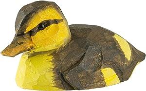 WILDLIFEGARDEN Mallard Duckling DecoBird, Artisanal Hand-Carved Wood Replica, Ornithologist Approved Life-Like Figurine Designed in Sweden
