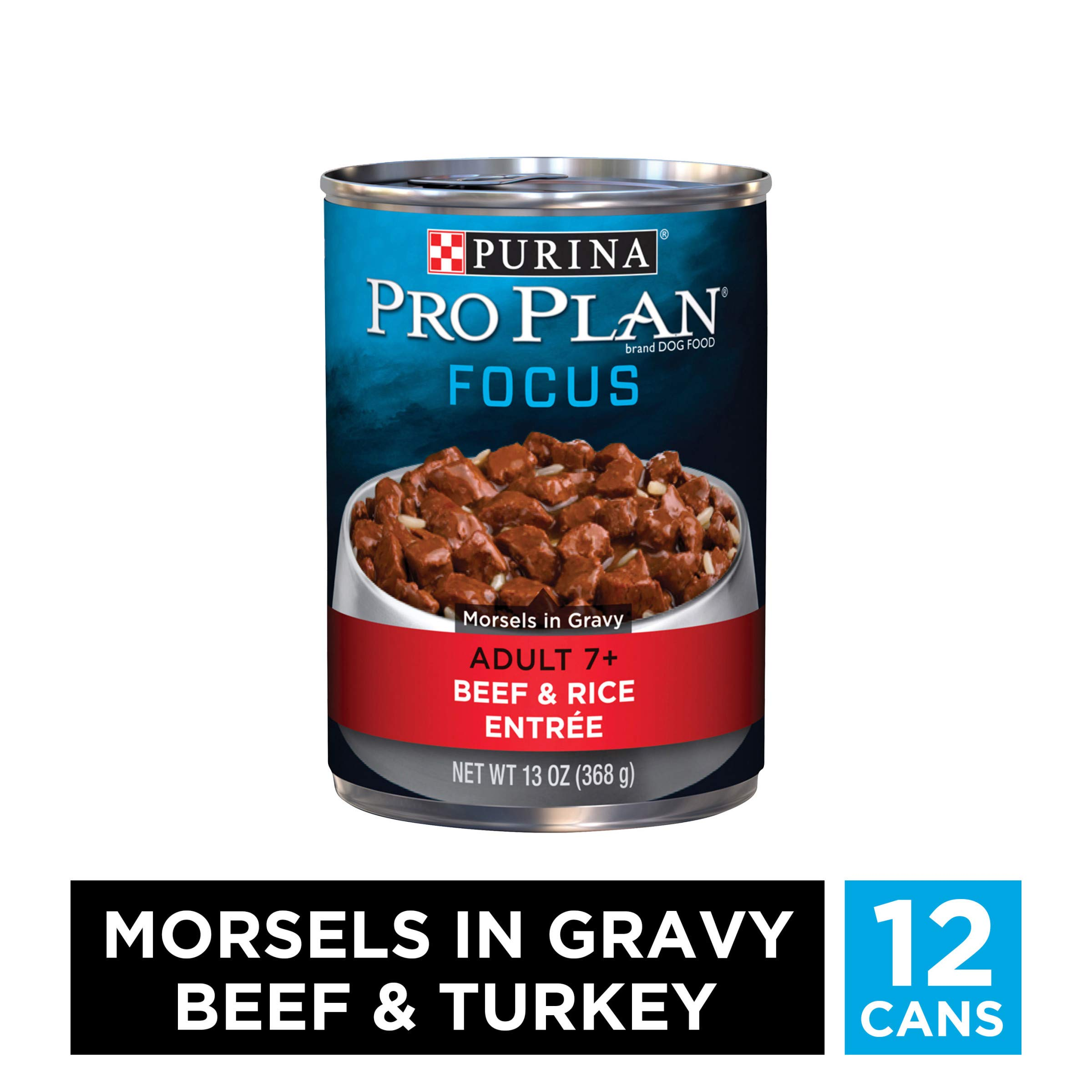 Purina Pro Plan Senior Gravy Wet Dog Food, FOCUS Morsels in Gravy Beef & Rice Entree - (12) 13 oz. Cans by PURINA Pro Plan