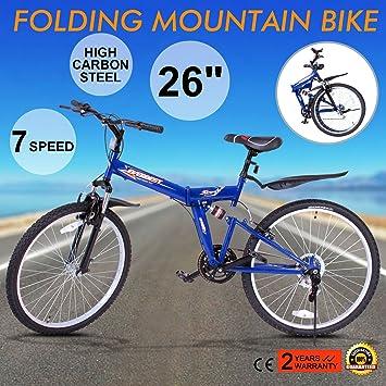 Autovictoria sBicicleta de montaña plegable bicicleta de montaña Shimano 7 velocidades 26inch suspensión plegable de acero