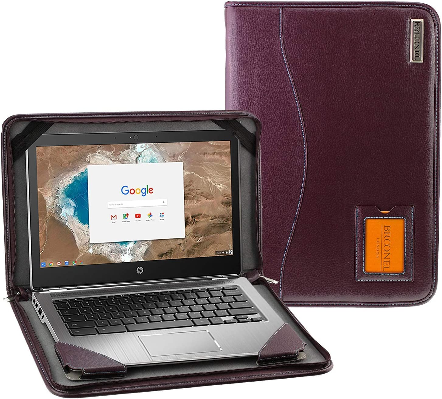 Broonel - Contour Series - Purple Heavy Duty Leather Protective Case Compatible with The HP EliteBook x360 1030 G4 13.3